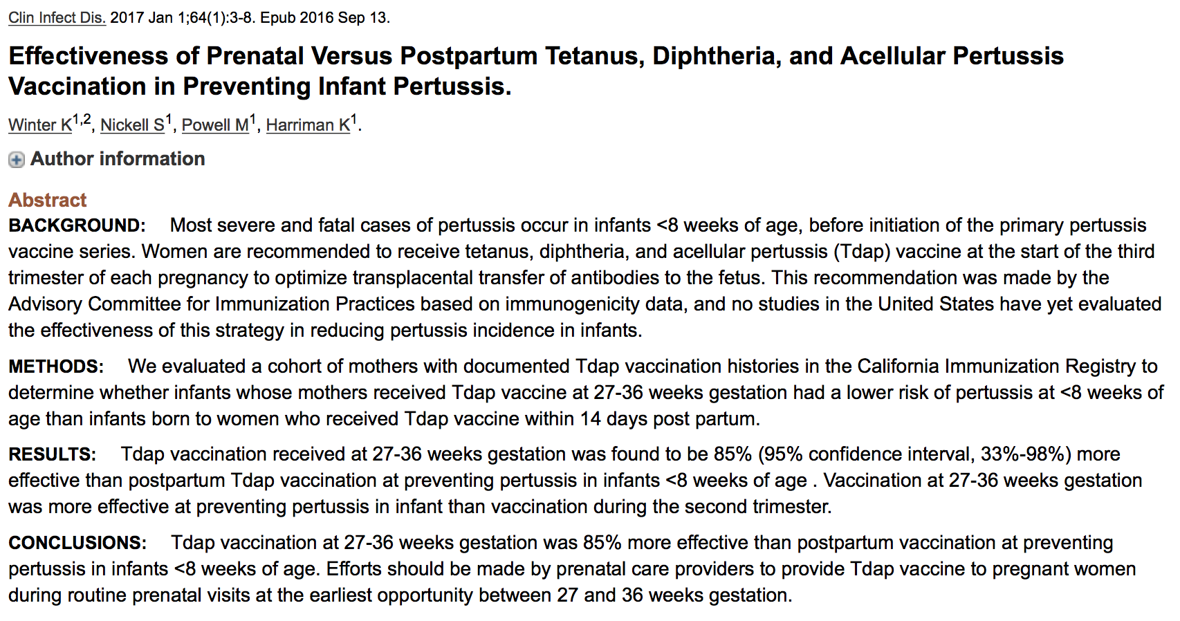 Effectiveness of Prenatal Versus Postpartum Tetanus, Diphtheria, and Acellular Pertussis Vaccination in Preventing Infant Pertussis