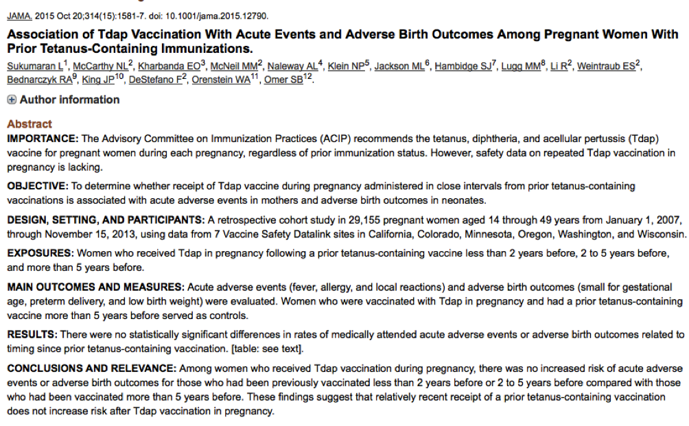 Sukumaran; Association of Tdap Vaccination With Acute Events and Adverse Birth Outcomes Among Pregnant Women With Prior Tetanus-Containing Immunizations