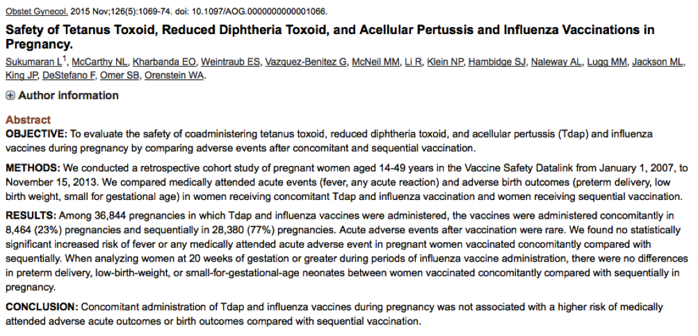 Sukumaran; Safety of Tetanus Toxoid, Reduced Diphtheria Toxoid, and Acellular Pertussis and Influenza Vaccinations in Pregnancy