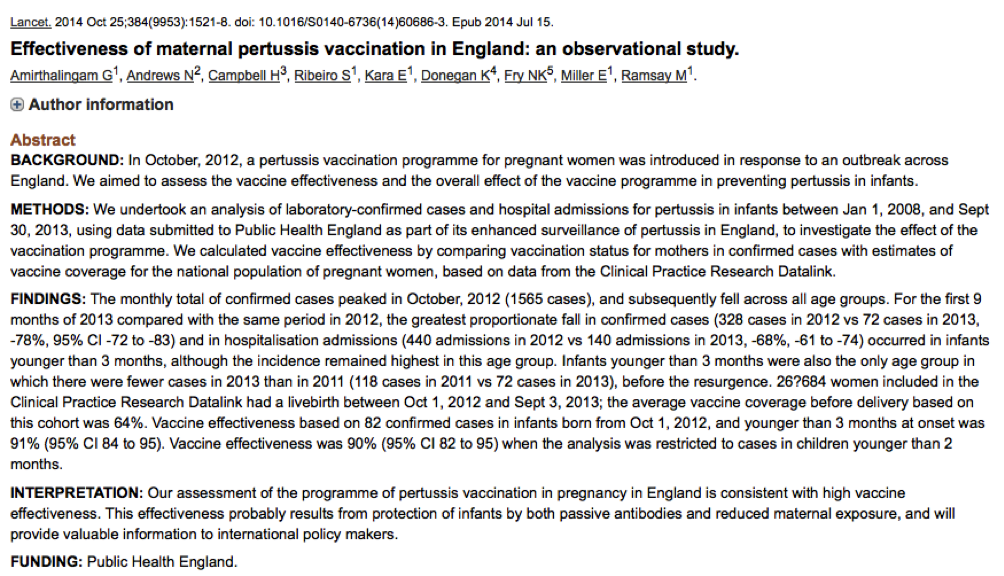 Amirthalingam; Effectiveness of maternal pertussis vaccination in England- an observational study