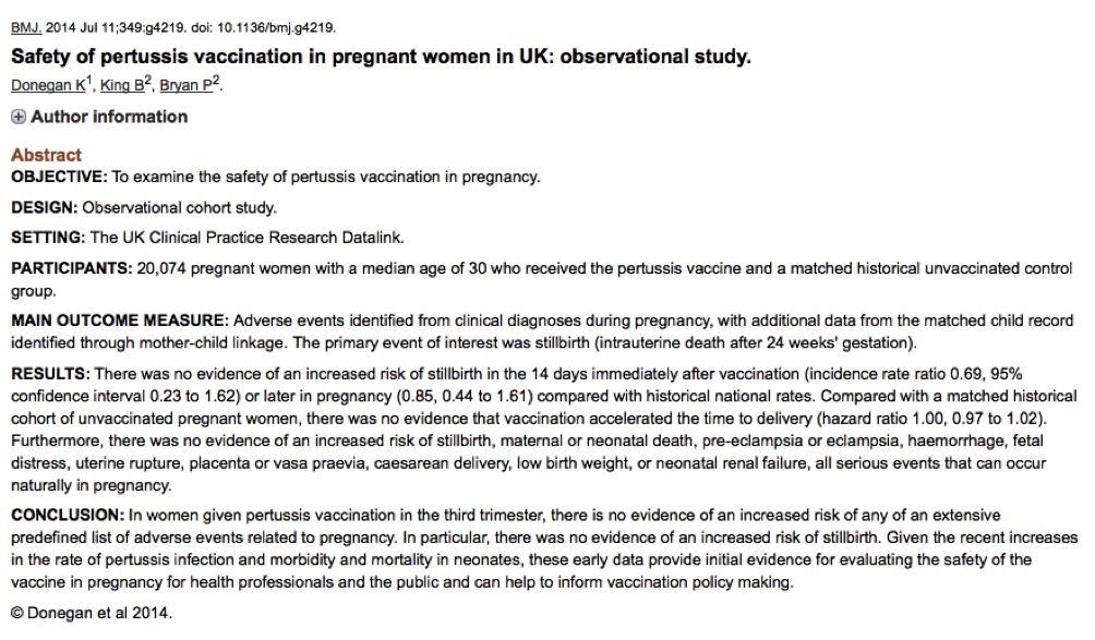 Donegan; Safety of pertussis vaccination in pregnant women in UK- observational study