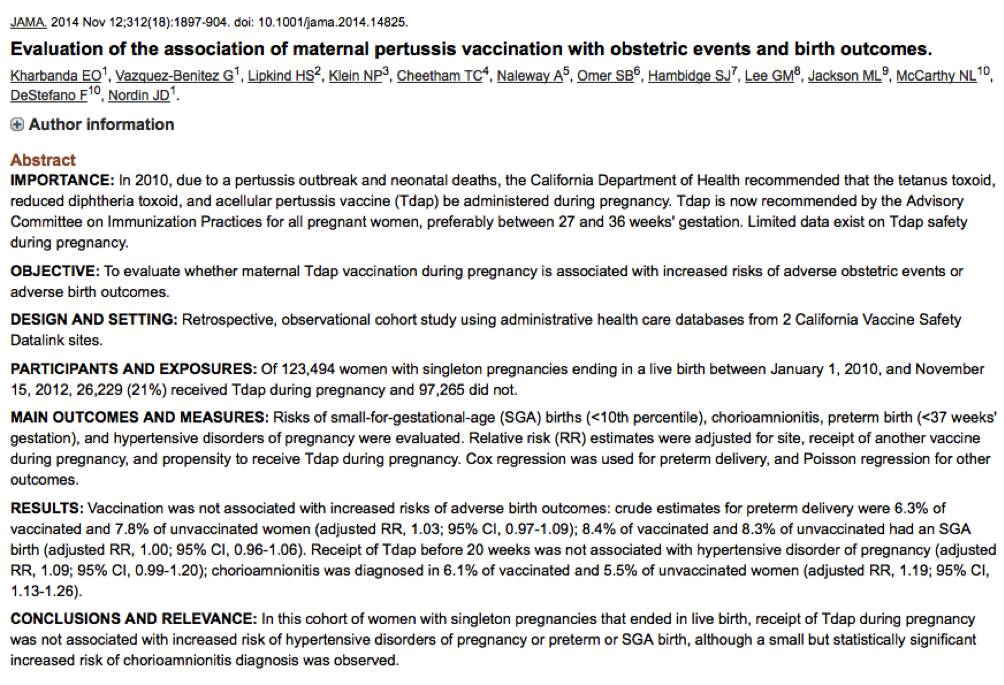 Kharbanda; Evaluation of the association of maternal pertussis vaccination with obstetric events and birth outcomes